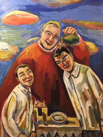 张润萍油画《受洗的孩子》