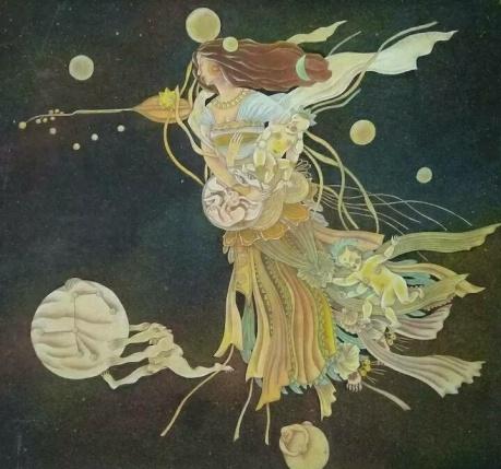 张润萍绢本国画《夜聆音》