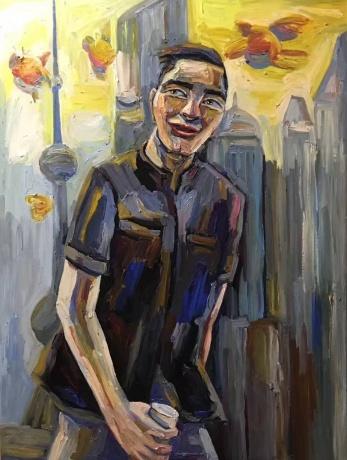 张润萍油画《长翅膀的太阳》