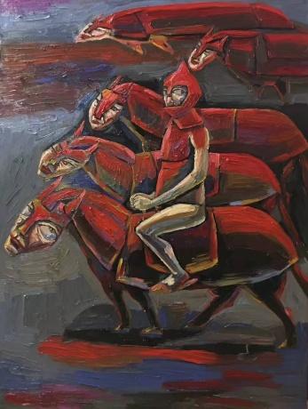 张润萍油画《矮脚马》