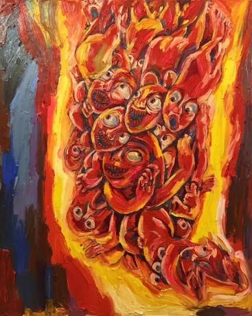 张润萍油画《热浪》