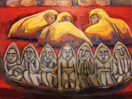 张润萍油画《历史这条河》