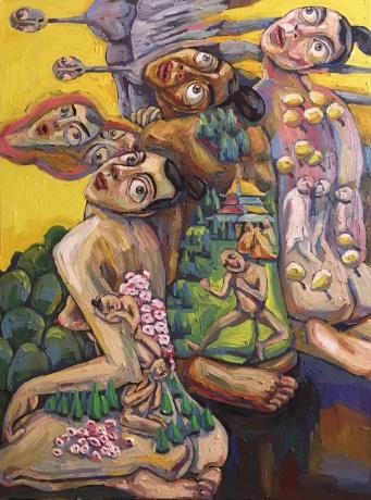 张润萍油画《后花园》