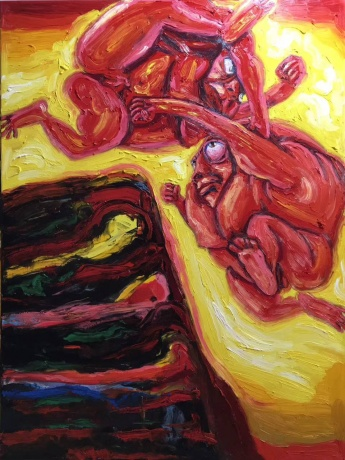 张润萍油画《决斗的太阳》