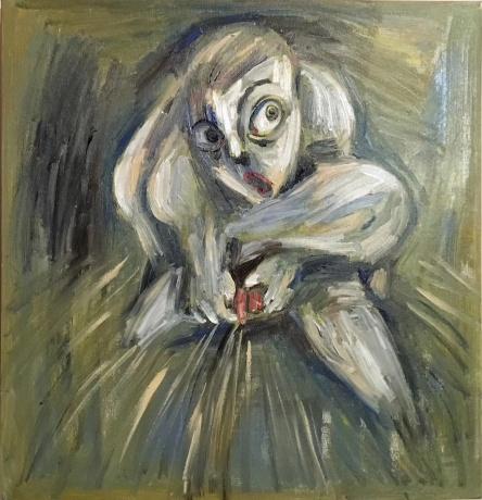 张润萍油画《晦涩之雨》