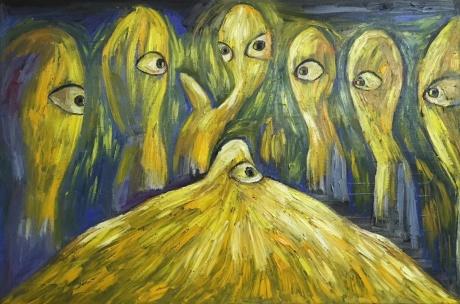 张润萍油画《夜光》