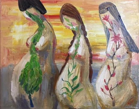 张润萍油画《小妈妈》