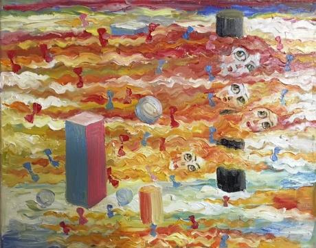 张润萍油画《晚霞的辫子》