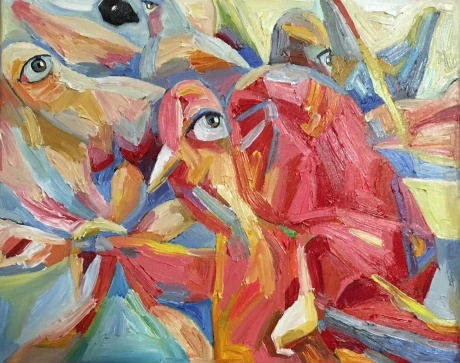 张润萍油画《童年时那个叫编花篮的游戏》