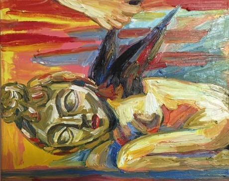 张润萍油画《生锈的翅膀》