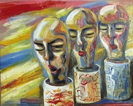 张润萍油画《长在瓶子里的人》