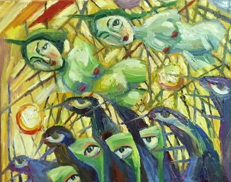 张润萍油画《五月时的单程机票》