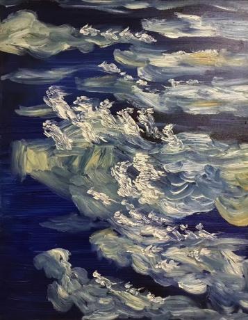 张润萍油画《我在高空的航班上看到了你们》