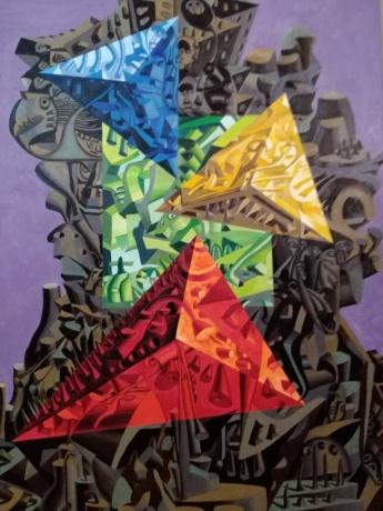 庞振勇油画《三色之谜》