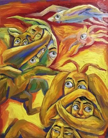 张润萍油画《我的名字叫做爱》