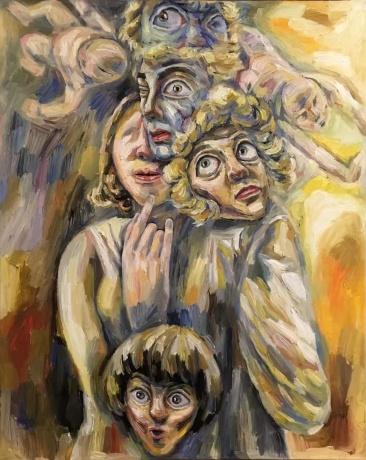 张润萍油画《弗洛伊德的园门》