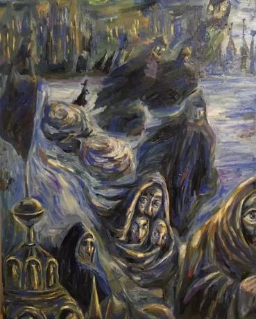 张润萍油画《苏格兰场的风雪之夜》