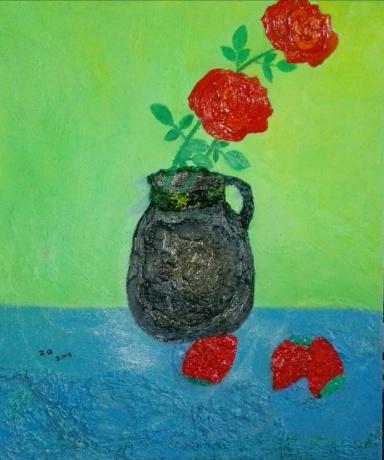 玫瑰花与草莓