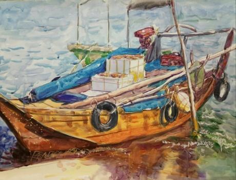 靠岸的渔船