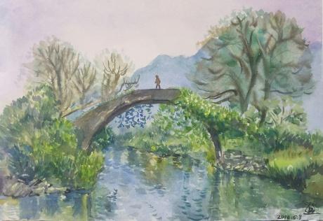 有小孩的拱桥