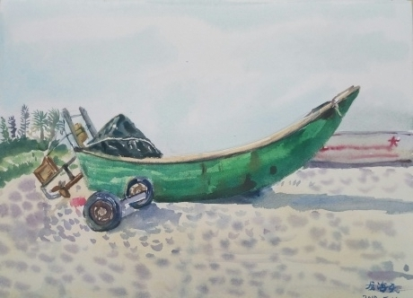 沙滩上的鱼船