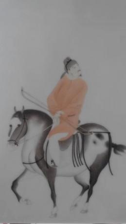 安之手绘骑射图