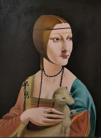 临摹《抱银鼠的女子》