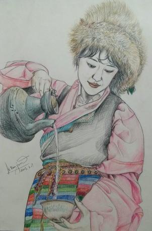 彩铅《倒茶的藏族姑娘》