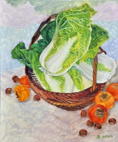 有白菜、柿子、栗子的静物