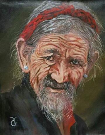 油画《藏族老人》