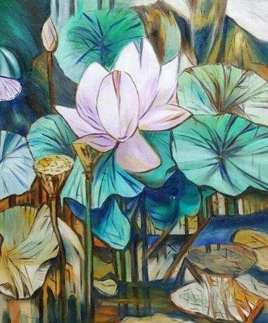 油画《荷塘系列4》