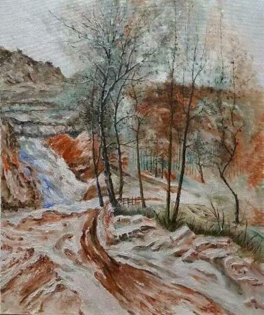油画《残雪村落》