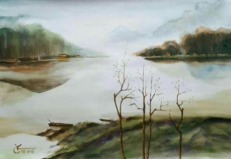 水彩《湖畔的树》作者:果酱女王-俞果