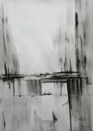 水彩《走过》作者:果酱女王-俞果