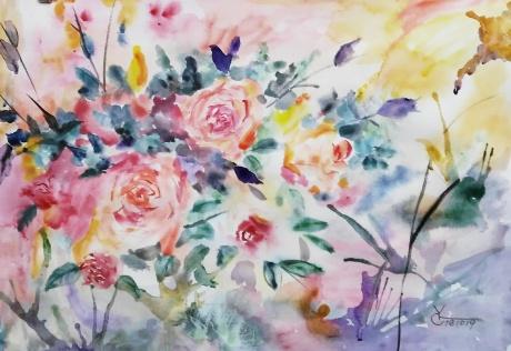 水彩《花开花落》作者:果酱女王-俞果