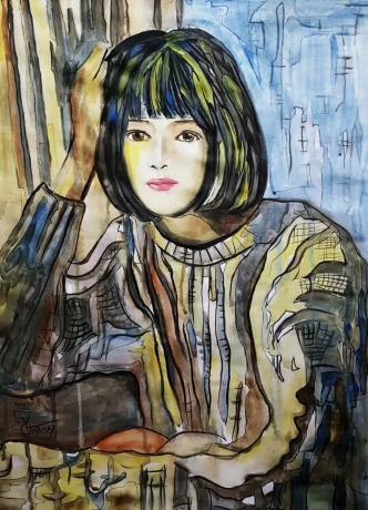 水彩《窗外微风》作者:果酱女王-俞果