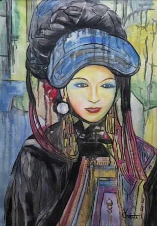 水彩《来自大山的女孩》作者:果酱女王-俞果