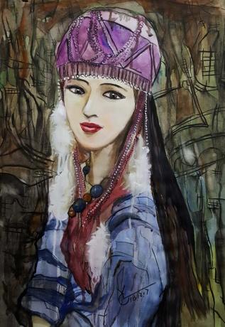 水彩《来自大山的女孩3》作者:果酱女王-俞果