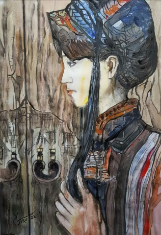 水彩《门》作者:果酱女王-俞果