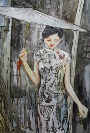 水彩《七月》作者:果酱女王-俞果