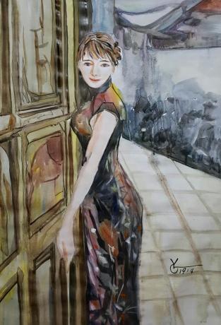 水彩《巷子的风》作者:果酱女王-俞果