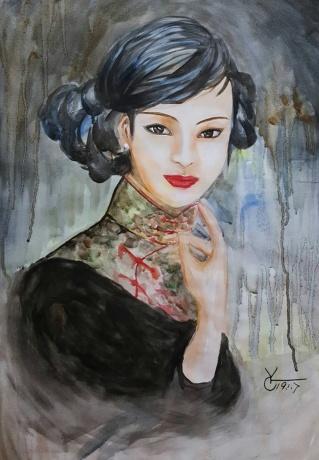 水彩《纯情年代》作者:果酱女王-俞果