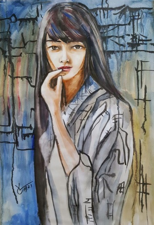 水彩《匆忙离去》作者:果酱女王-俞果
