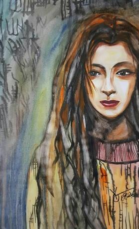 水彩《一片枯叶》作者:果酱女王-俞果