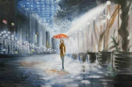 水彩《不用白色的雨夜》作者:果酱女王-俞果
