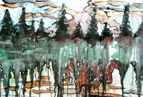 水彩《树的成长》作者:果酱女王-俞果