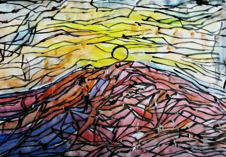 水彩《太阳升起的时候》作者:果酱女王-俞果