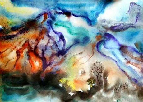 水彩《两棵树》作者:果酱女王-俞果
