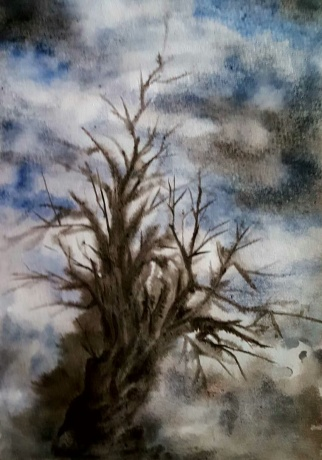 水彩画《枯树,那顶草帽》 作者:果酱女王-俞果