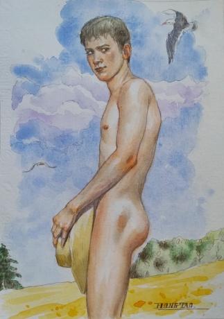 水彩男人体